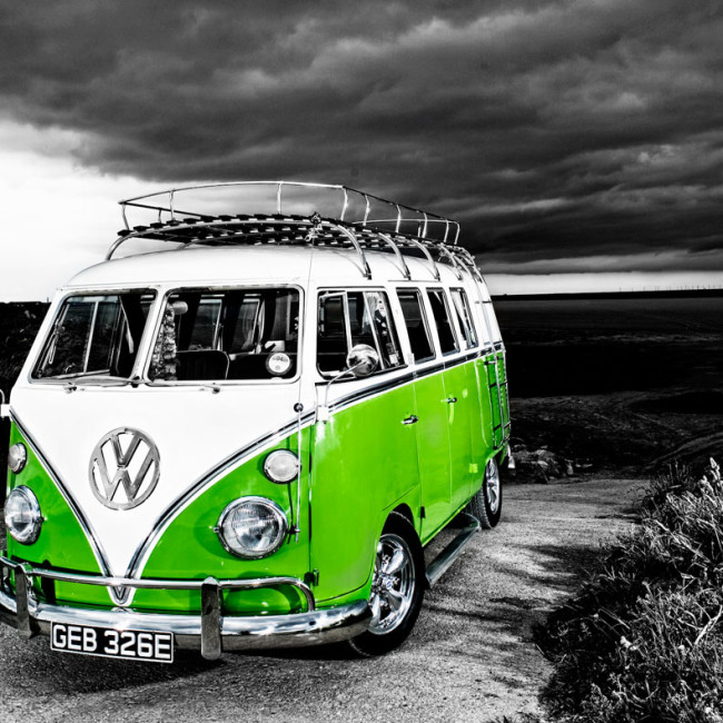 VW-camper-van-b+w-to-green
