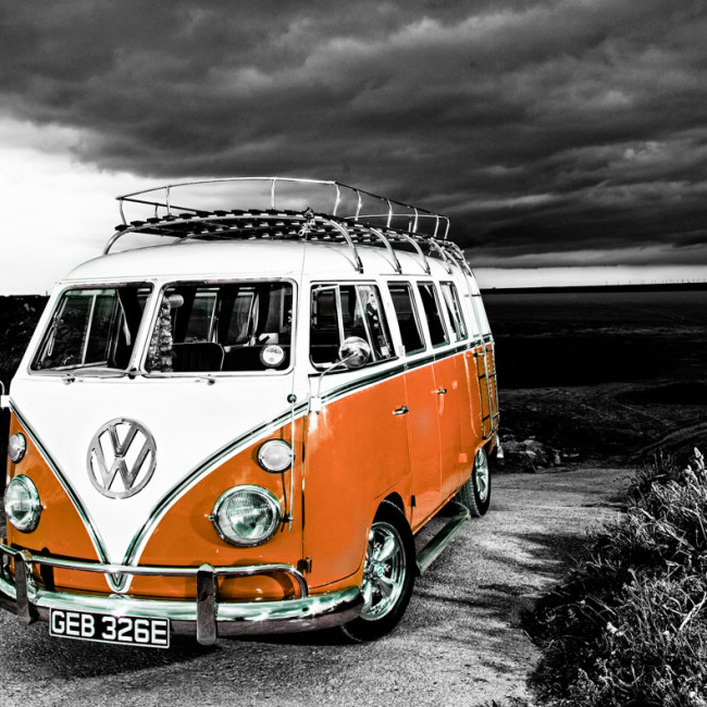 VW-camper-van-b+w-to-orange