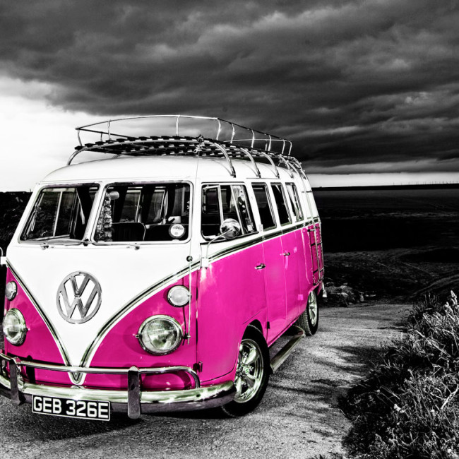 VW-camper-van-b+w-to-pink