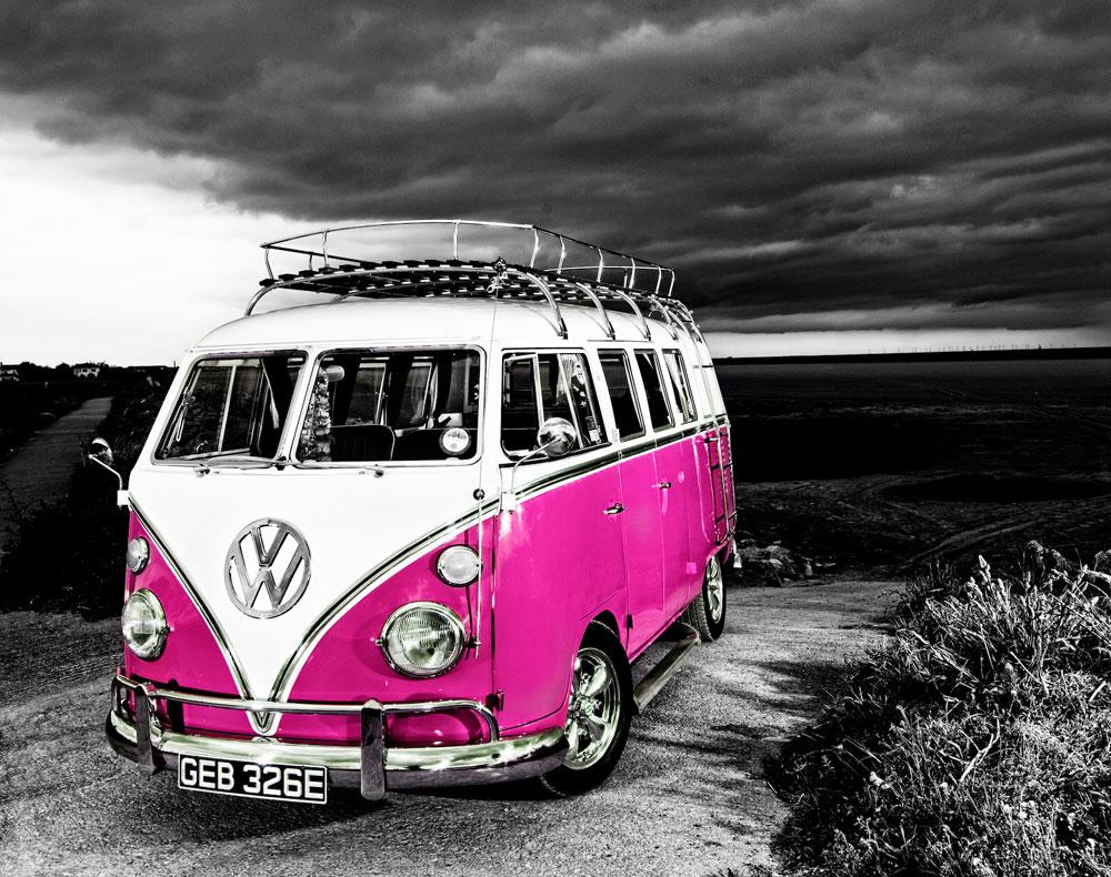 vw camper van pink the uk art depot shop. Black Bedroom Furniture Sets. Home Design Ideas