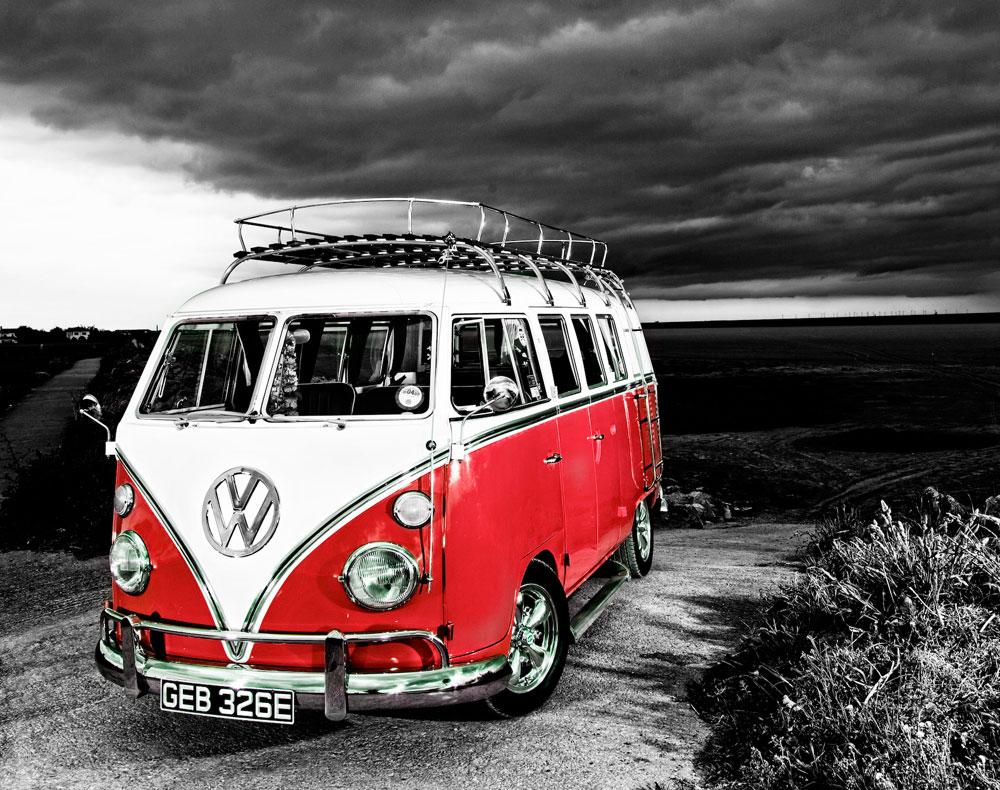 Vw Camper Van >> Vw Camper Van Canvas Red