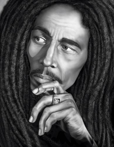 bob marley black and white