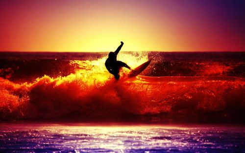 surfing with sunset