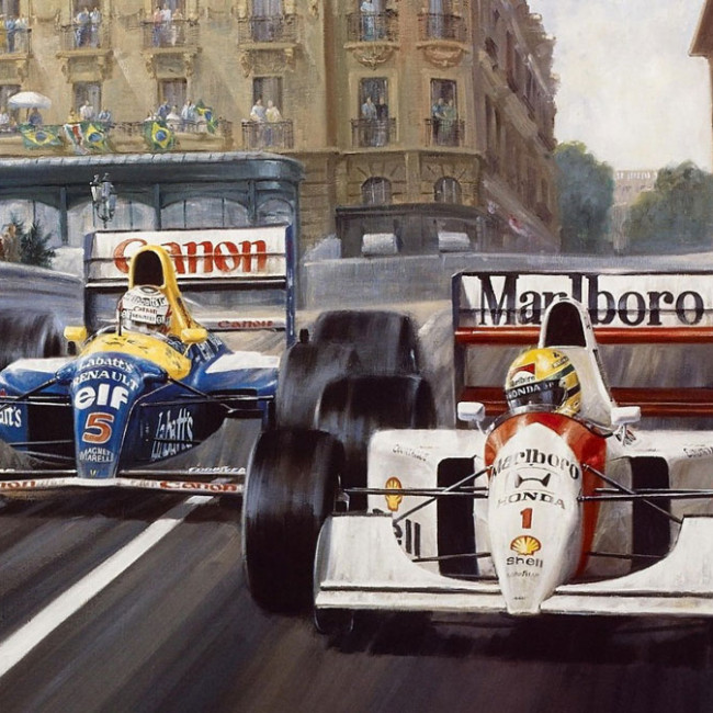 Ayrton Senna fights off Nigel Mansel