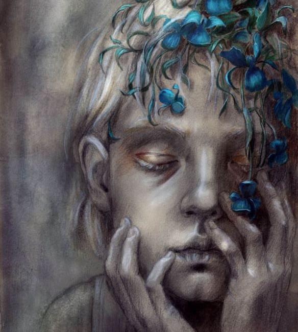 Blue Flowers in Hair