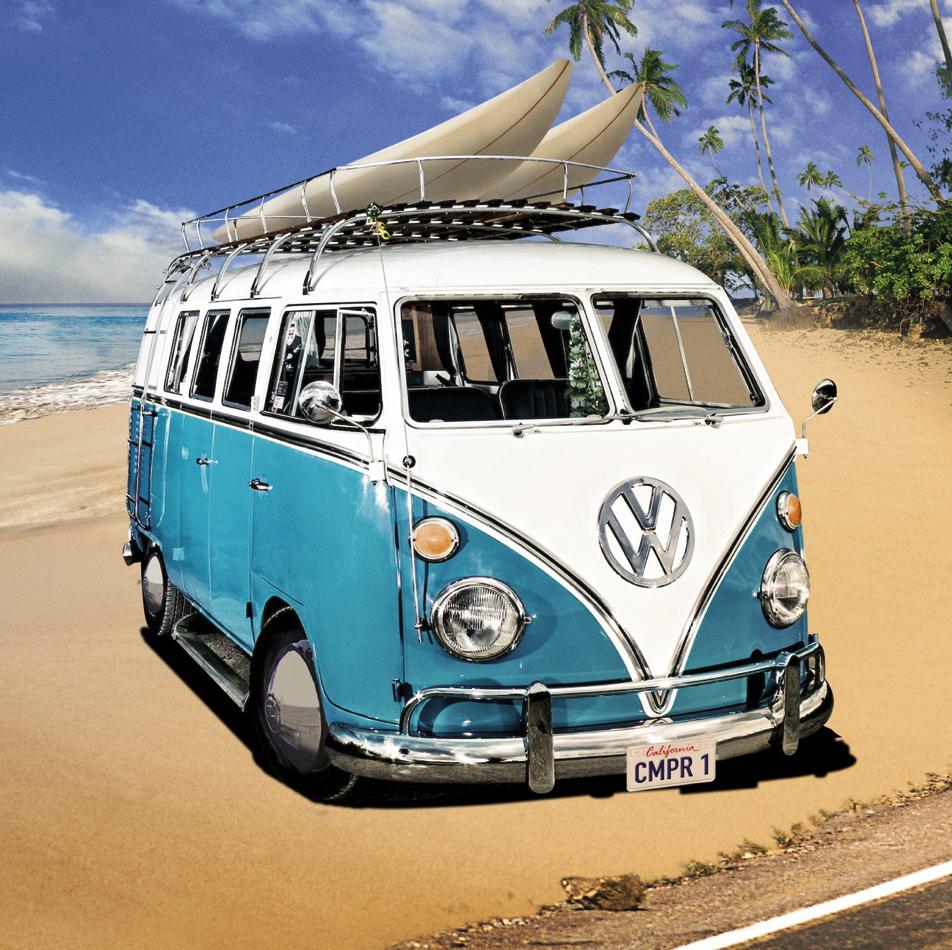 vw camper blue on beach the uk art depot shop. Black Bedroom Furniture Sets. Home Design Ideas